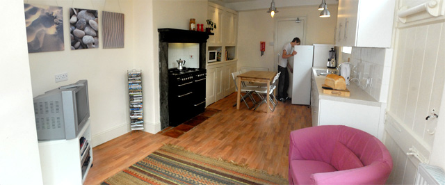 Kitchen/living room at 12 Devon Terrace; Rooms from £90/week BILLS INCLUDED